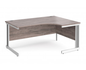 All Grey Oak Deluxe Right Hand Ergonomic Desk