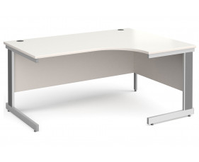 All White Deluxe Right Hand Ergonomic Desk