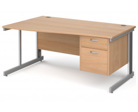 All Beech Deluxe Left Hand Wave Desk 2 Drawers