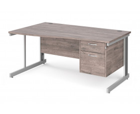 All Grey Oak Deluxe Left Hand Wave Desk 2 Drawers