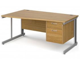 All Oak Deluxe Left Hand Wave Desk 2 Drawers