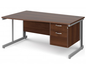 All Walnut Deluxe Left Hand Wave Desk 2 Drawers