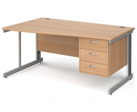 All Beech Deluxe Left Hand Wave Desk 3 Drawers