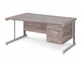All Grey Oak Deluxe Left Hand Wave Desk 3 Drawers