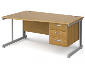 All Oak Deluxe Left Hand Wave Desk 3 Drawers