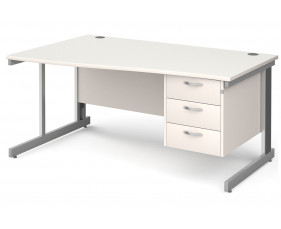 All White Deluxe Left Hand Wave Desk 3 Drawers