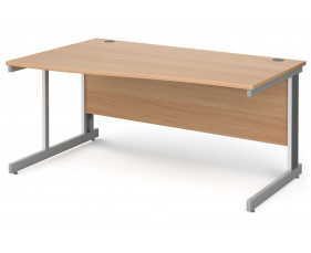 All Beech Deluxe Left Hand Wave Desk