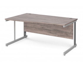 All Grey Oak Deluxe Left Hand Wave Desk