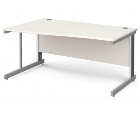 All White Deluxe Left Hand Wave Desk