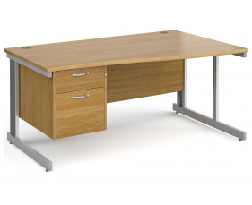 All Oak Deluxe Right Hand Wave Desk 2 Drawers