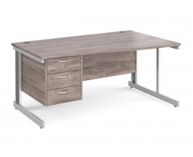 All Grey Oak Deluxe Right Hand Wave Desk 3 Drawers