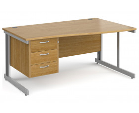 All Oak Deluxe Right Hand Wave Desk 3 Drawers