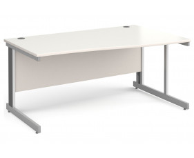 All White Deluxe Right Hand Wave Desk