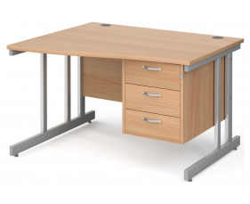 Next-Day Tully II Left Hand Wave Desk 3 Drawers