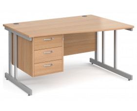 Next-Day Tully II Right Hand Wave Desk 3 Drawers