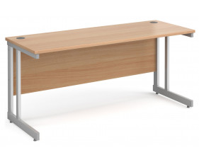 All Beech Double C-Leg Narrow Rectangular Desk