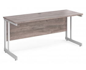 All Grey Oak Double C-Leg Narrow Rectangular Desk
