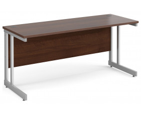 All Walnut Double C-Leg Narrow Rectangular Desk