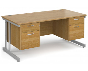 All Oak Double C-Leg Executive Desk 2+2 Drawers