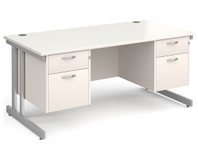All White Double C-Leg Executive Desk 2+2 Drawers