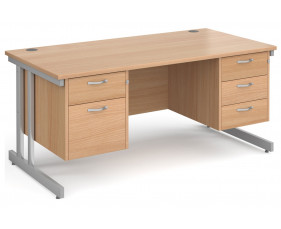 All Beech Double C-Leg Executive Desk 2+3 Drawers