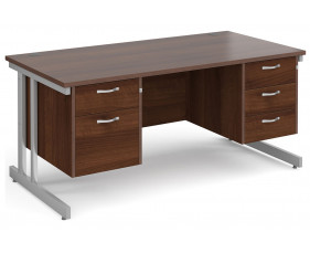 All Walnut Double C-Leg Executive Desk 2+3 Drawers