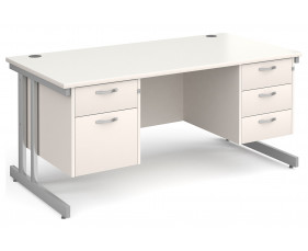 All White Double C-Leg Executive Desk 2+3 Drawers