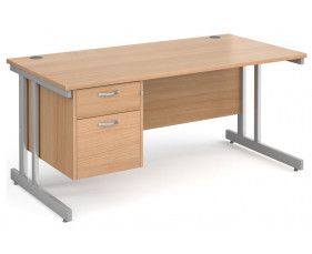 All Beech Double C-Leg Clerical Desk 2 Drawer