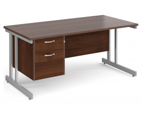 All Walnut Double C-Leg Clerical Desk 2 Drawer
