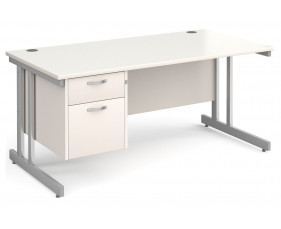 All White Double C-Leg Clerical Desk 2 Drawer