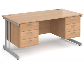 All Beech Double C-Leg Executive Desk 3+3 Drawers
