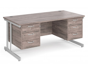 All Grey Oak Double C-Leg Executive Desk 3+3 Drawers