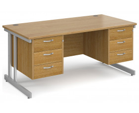All Oak Double C-Leg Executive Desk 3+3 Drawers