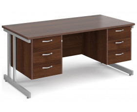 All Walnut Double C-Leg Executive Desk 3+3 Drawers