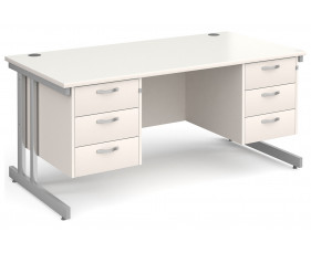 All White Double C-Leg Executive Desk 3+3 Drawers