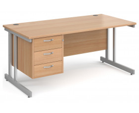 All Beech Double C-Leg Clerical Desk 3 Drawer
