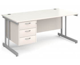 All White Double C-Leg Clerical Desk 3 Drawer