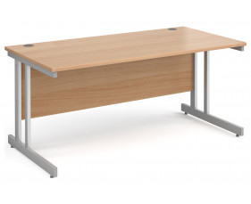 All Beech Double C-Leg Rectangular Desk