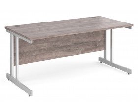 All Grey Oak Double C-Leg Rectangular Desk