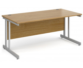 All Oak Double C-Leg Rectangular Desk