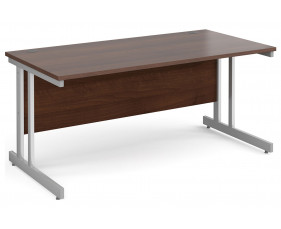 All Walnut Double C-Leg Rectangular Desk