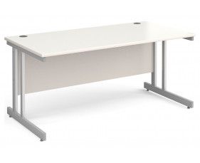 All White Double C-Leg Rectangular Desk