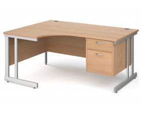 All Beech Double C-Leg Left Hand Ergo Desk 2 Drawers