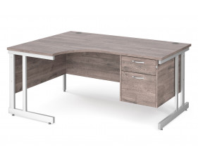 All Grey Oak Double C-Leg Left Hand Ergo Desk 2 Drawers