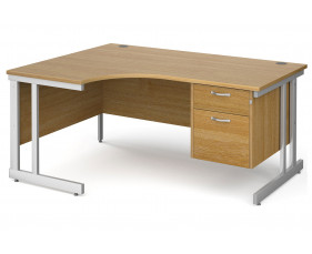 All Oak Double C-Leg Left Hand Ergo Desk 2 Drawers