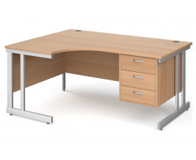 All Beech Double C-Leg Left Hand Ergo Desk 3 Drawers
