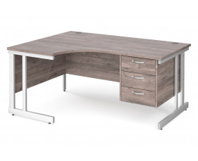 All Grey Oak Double C-Leg Left Hand Ergo Desk 3 Drawers