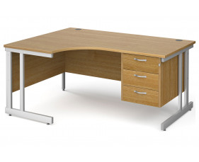 All Oak Double C-Leg Left Hand Ergo Desk 3 Drawers