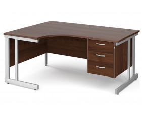 All Walnut Double C-Leg Left Hand Ergo Desk 3 Drawers