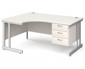 All White Double C-Leg Left Hand Ergo Desk 3 Drawers